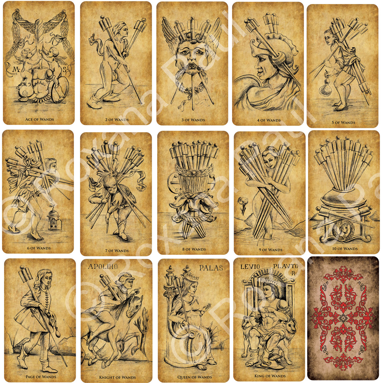 Contents: Standard Sized Tarot deck, 2.75 x 4.75 in. (70 mm x 120 mm) - 78 cards  Card stock: 330gsm (linen finish) Card Language: English Card Back: Reversible Packaging: Two pieces sturdy box (gloss finish)